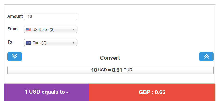 Sliding Universal Currency Converter